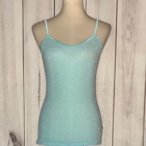Express Light Aqua Shimmer Camisole Top